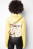 ZADIG & VOLTAIRE Hoodies & Sweatshirts Street Style Long Sleeves Plain Leather Cotton Logo 8