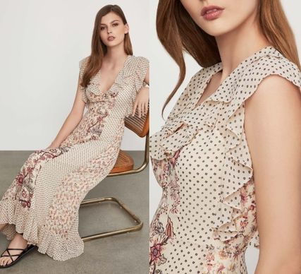 Tired Flower Patterns Dots Casual Style Maxi Sleeveless