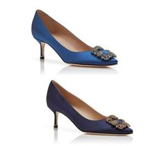 Manolo Blahnik Hangisi Casual Style Plain Leather Party Style With Jewels