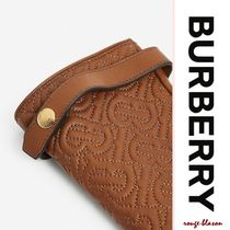 Burberry Cashmere Plain Leather Logo Leather & Faux Leather Gloves