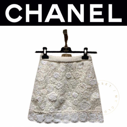CHANEL ICON Short Street Style Handmade Logo Mini Skirts