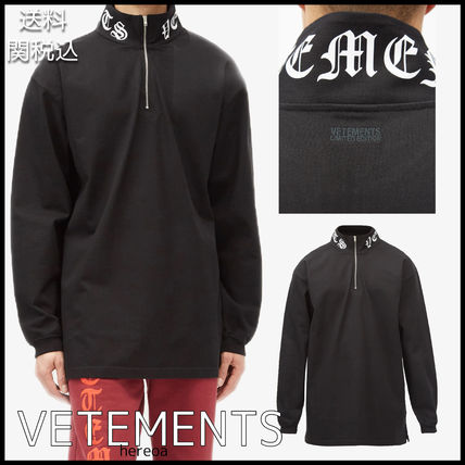 VETEMENTS Pullovers Unisex Street Style Long Sleeves Plain Cotton Logo