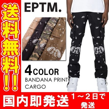 Printed Pants Paisley Unisex Street Style Cotton Military