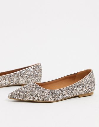 ASOS Asos Design Lucky Pointed Ballet Flats In Rose Gold Glitter