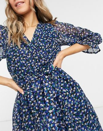 ASOS New Look Collared Mini Tea Dress In Blue Floral