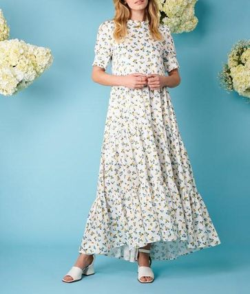 Flower Patterns Casual Style Maxi Flared Cropped Medium Long