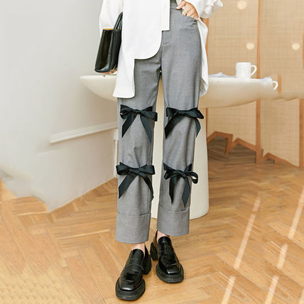 Casual Style Street Style Plain Cotton Long Office Style