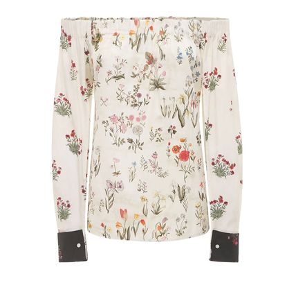 MaxMara Flower Patterns Long Sleeves Cotton Off the Shoulder