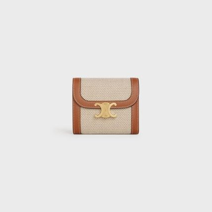 CELINE Flap Small Triomphe Wallet In Textile And Calfskin