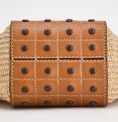 Leather Logo Straw Bags