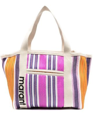 Stripes Casual Style Street Style A4 Logo Totes
