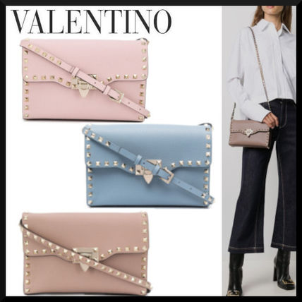 VALENTINO Logo Casual Style Studded Leather Street Style Shoulder Bags