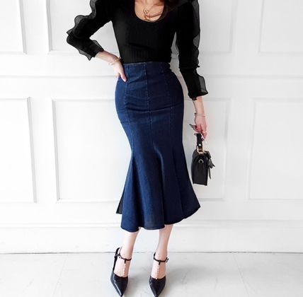 Pencil Skirts Flared Skirts Casual Style Denim Plain Long