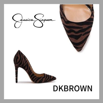 Zebra Patterns Zigzag Casual Style Leather Pin Heels