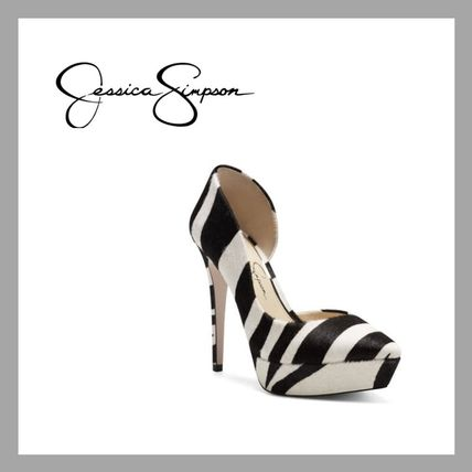 Zebra Patterns Casual Style Street Style Leather Pin Heels