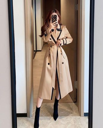 Stand Collar Coats Casual Style Plain Long Party Style Midi