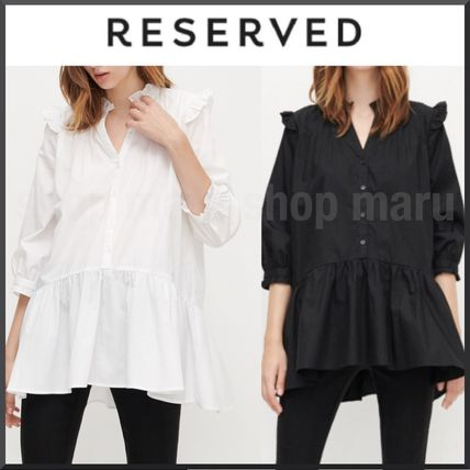 RESERVED Cropped Plain Cotton Medium Long Tunics