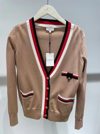 Stripes Casual Style Wool Cotton Elegant Style Cardigans