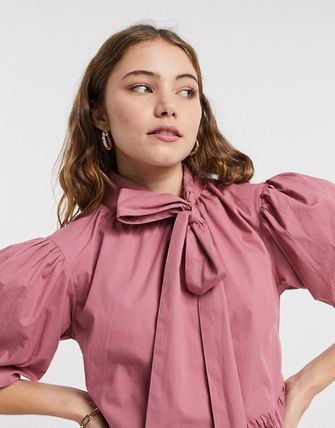 ASOS Influence Bow Neck Mini Smock Dress In Pink