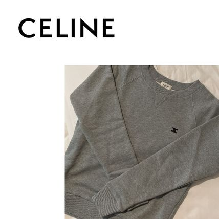 CELINE Unisex U-Neck Long Sleeves Plain Cotton Logo