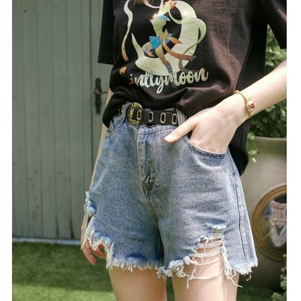 ELF SACK Short Casual Style Denim Plain Denim & Cotton Shorts