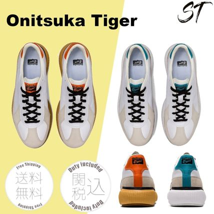 Logo Icy Color Unisex Leather Street Style Sneakers