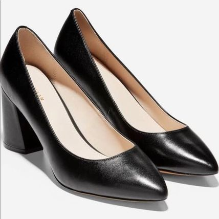 Cole Haan Plain Leather Block Heels Office Style Python