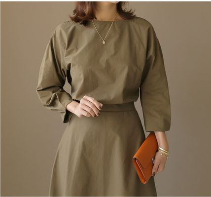 Casual Style A-line Flared Cropped Long Sleeves Plain Cotton