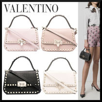 VALENTINO Casual Style Studded Street Style 2WAY Leather Crossbody