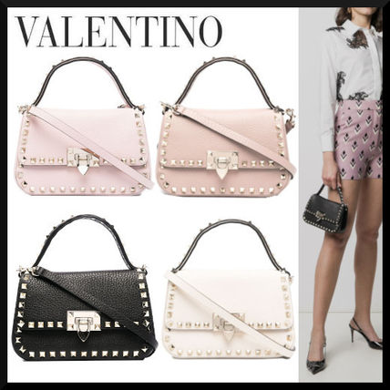 VALENTINO Crossbody Casual Style Studded 2WAY Leather Street Style