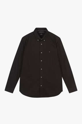Tommy Hilfiger Stripes Plain Cotton Logo Shirts