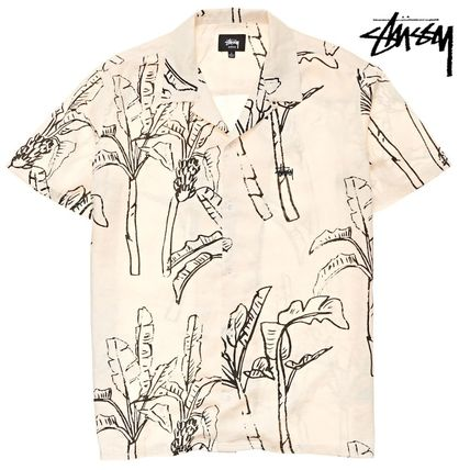 STUSSY Shirts Button-down Tropical Patterns Unisex Street Style Cotton