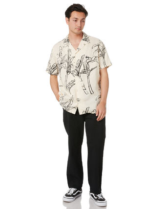 STUSSY Shirts Button-down Tropical Patterns Unisex Street Style Cotton 3