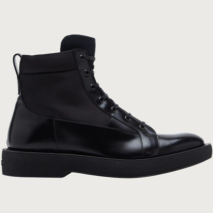 Salvatore Ferragamo Plain Toe Street Style Plain Leather Engineer Boots