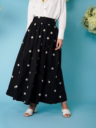 Flower Patterns Casual Style Long Midi Office Style