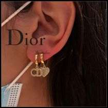 Christian Dior Casual Style Initial Party Style 18K Gold With Jewels