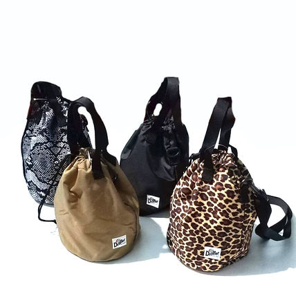Leopard Patterns Casual Style Unisex Nylon 2WAY Plain Purses