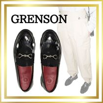 Grenson Round Toe Rubber Sole Casual Style Tassel Plain Leather