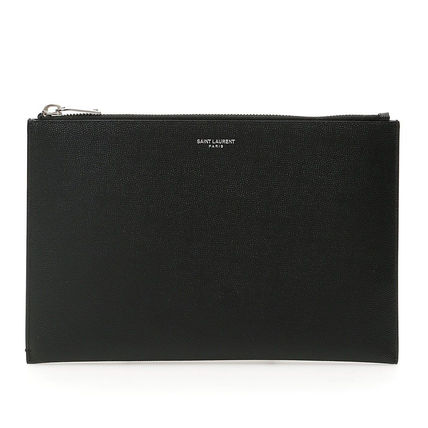Saint Laurent Calfskin Street Style Plain Leather Logo Clutches