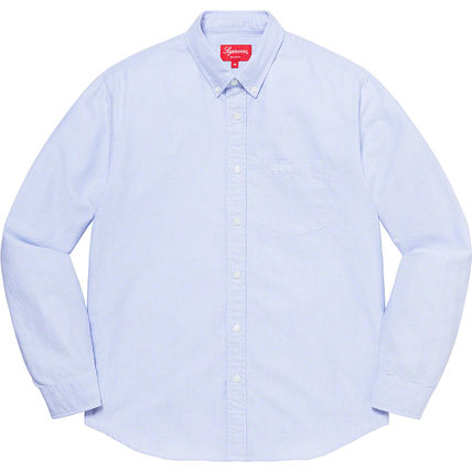 Supreme Shirts Button-down Stripes Unisex Street Style Long Sleeves Cotton 2