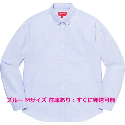 Supreme Shirts Button-down Stripes Unisex Street Style Long Sleeves Cotton