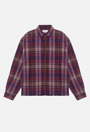 Other Plaid Patterns Long Sleeves Cotton Oversized Designers