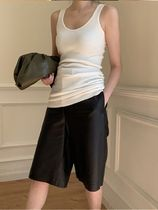 Short Casual Style Faux Fur Leather & Faux Leather Shorts