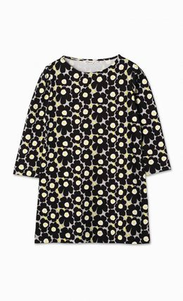 marimekko Flower Patterns Cropped Long Sleeves Cotton Medium Tunics