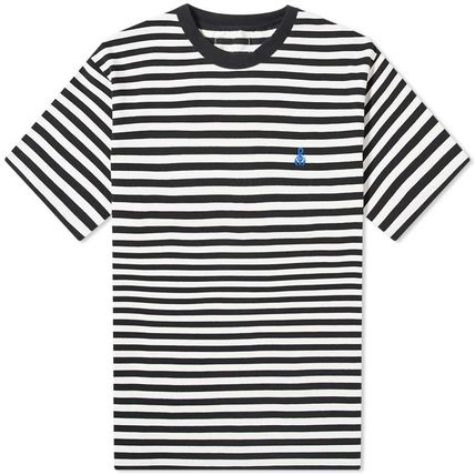 Logo Stripes Unisex Cotton Short Sleeves Street Style