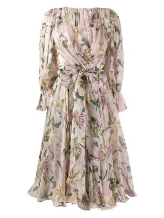 Dolce & Gabbana Wrap Dresses Flower Patterns Casual Style Silk Flared V-Neck