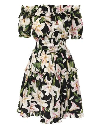 Dolce & Gabbana Short Flower Patterns Casual Style Flared Cotton