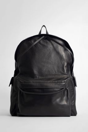 Casual Style Unisex A4 Plain Leather Street Style Backpacks