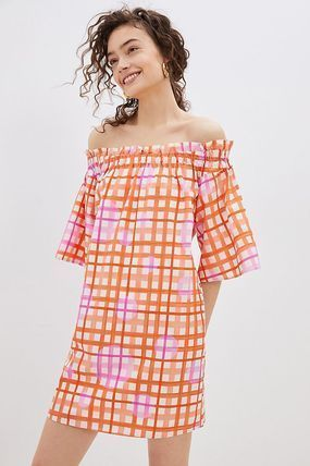 Short Other Plaid Patterns Dots Casual Style Cotton