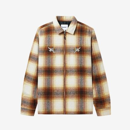 Logo Other Plaid Patterns Long Sleeves Street Style Shirts